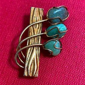 🖤Antique Green stone brooch